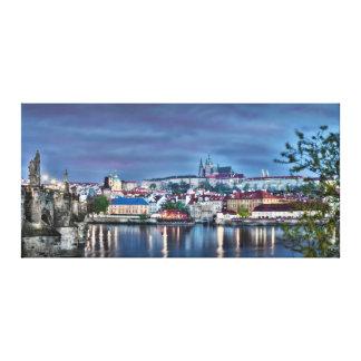 Toile de nuit de rivière de Vltava de château de