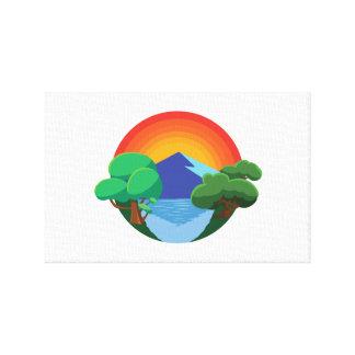 Toile 👍 de Sun, de montagne, de lac et d'arbres