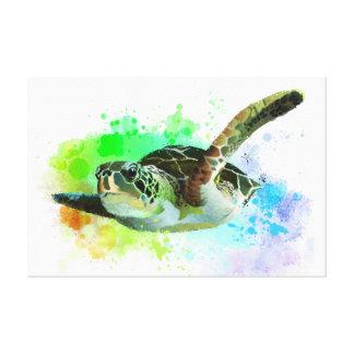 Toile de tortue de mer de natation d'aquarelle
