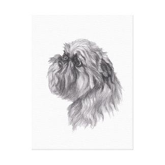 Toile Dessin classique de profil de chien de griffon de