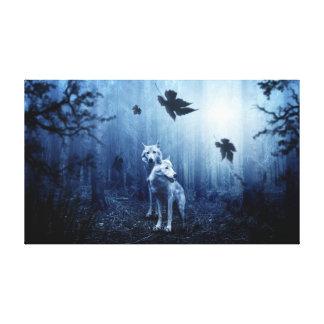 Toile Deux loups dans une forêt foncée