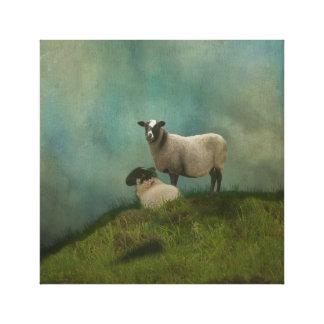 Toile deux moutons dans le domaine