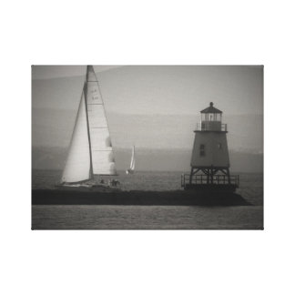 Toile Deux voiliers et un phare sur le lac Champlain
