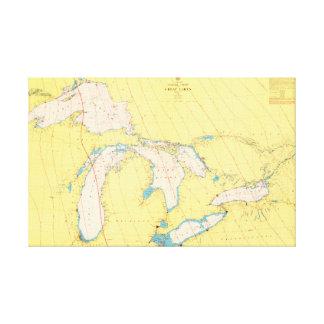 Toile Diagramme et carte nautiques de Great Lakes