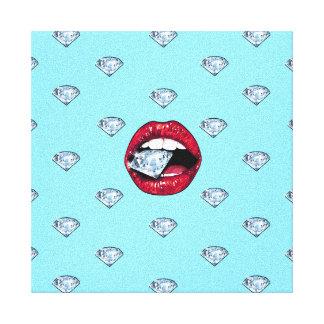 Toile Diamant chic de lèvres Girly