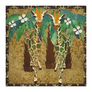 Toile d'or de Tropicana de girafes Toile Tendue