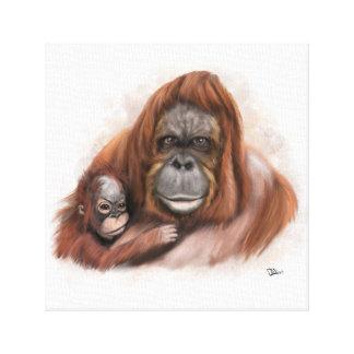 Toile d'orang-outan de bébé et de mère