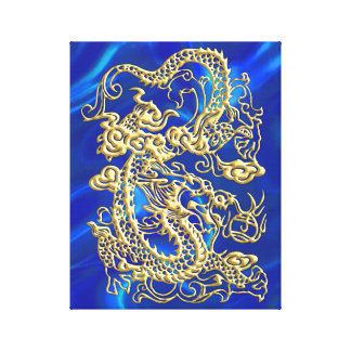 Toile Dragon de relief d'or