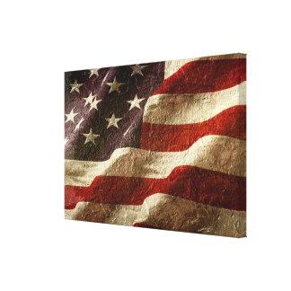 Toile Drapeau américain découpé dans la pierre