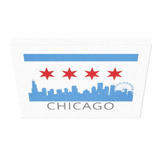 Toile Drapeau de Chicago : La ville venteuse