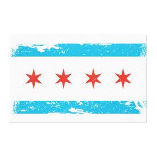 Toile Drapeau grunge de Chicago