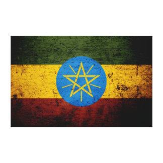 Toile Drapeau grunge noir de l'Ethiopie