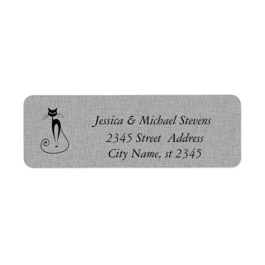 Toile drôle mignonne élégante de chat étiquette d'adresse retour