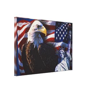 Toile Eagle chauve une statue de la liberté un drapeau