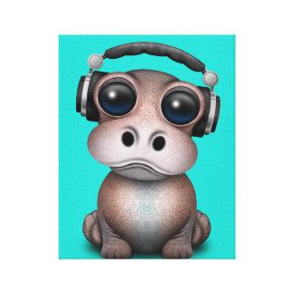 Toile Écouteurs de port du DJ d'hippopotame mignon de