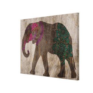 Toile Éléphant asiatique tribal de zen