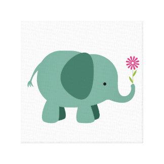 Toile Éléphant avec la fleur - art de mur de crèche