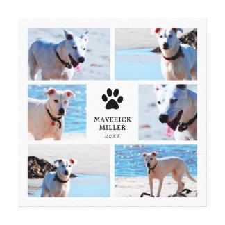 Toile Empreintes de pattes - collage de photo de chien