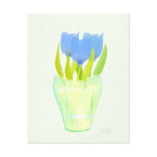 Toile en bon état abstraite de tulipes bleues