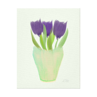 Toile en bon état de tulipes pourpres abstraites