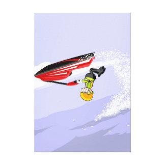 Toile Enfant de tête dans son jet ski