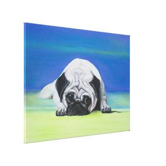 Toile enveloppée par chien de carlin toile tendue