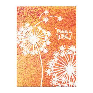 Toile enveloppée par souhait de fleurs de pissenli impression sur toile