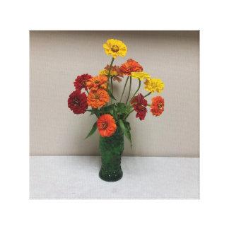 Toile enveloppée, rouge, orange, et Flowersers
