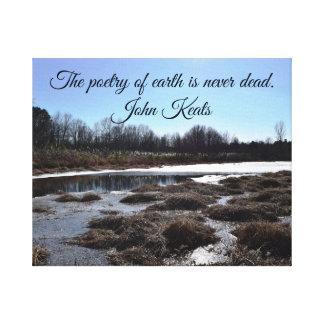 Toile Étang glacial w/Quote par John Keats