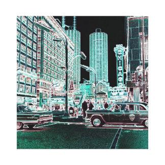 Toile État de théâtre de Chicago et néon du théâtre 1963