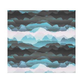 Toile Faded a stylisé les montagnes bleues