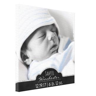 Toile Faire-part de naissance moderne de photo de bébé