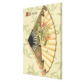 Toile Fan de geisha avec le feuille et l'impression