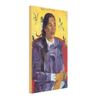 Toile Femme avec une fleur par Paul Gauguin