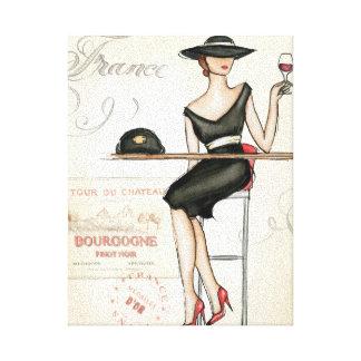 Toile Femme française buvant du vin rouge
