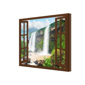 Toile Fenêtre de Faux de vue de cascades
