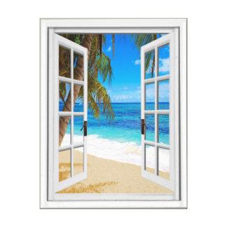 Toile Fenêtre de faux de vue d'océan de plage