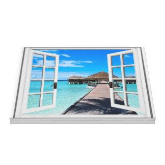 Toile Fenêtre de Faux de vue d'océan de promenade