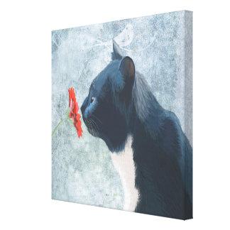 Toile Fleur de reniflement de chat noir