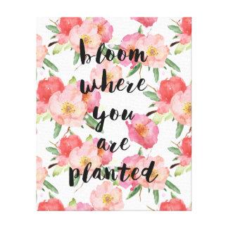 Toile Fleur où vous êtes aquarelle rose plantée florale