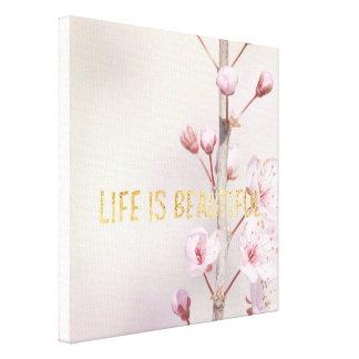 Toile Fleurs de fleurs de cerisier avec la citation