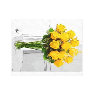 Toile Fleurs de jaune vif