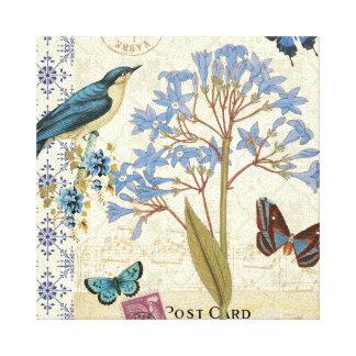 Toile Fleurs, papillons, et collage d'oiseau