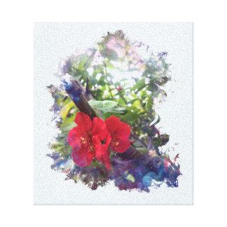Toile Fleurs rouges brillantes de cognassier du Japon