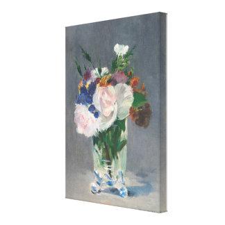Toile Fleurs vintages dans un vase en cristal par