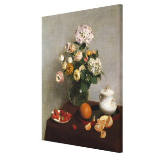 Toile Fleurs vintages et fruit de Henri Fantin-Latour