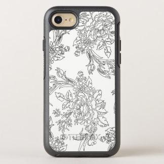 Toile floral noir et blanc élégant coque otterbox symmetry pour iPhone 7