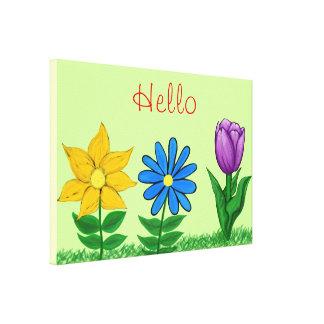 Toile florale pourpre bleue jaune de jardin