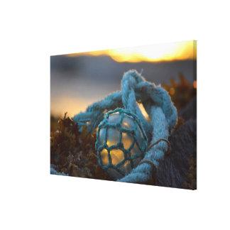 Toile Flotteur en verre de pêche, coucher du soleil,