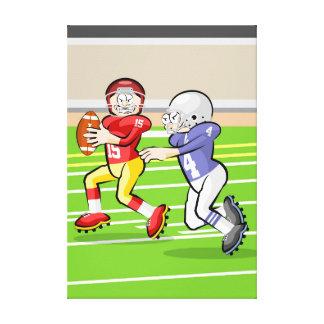 Toile Football américain joueur en courant avec la balle